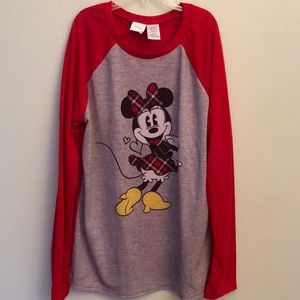 DISNEY SM Red Gray Minnie Mouse Baseball T-Shirt